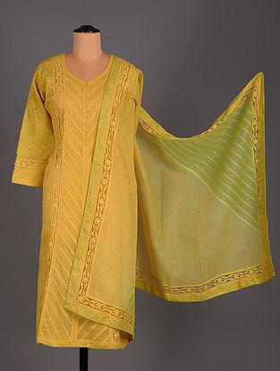 Yellow Hand Embroidered Kota cotton Salwar Set