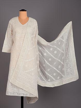White Hand Embroidered Kota cotton Salwar Set