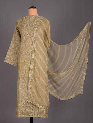 Brown Hand Embroidered Silk Organza Salwar Set