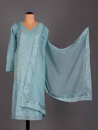 Blue Hand Embroidered Voil Organdy Salwar Set