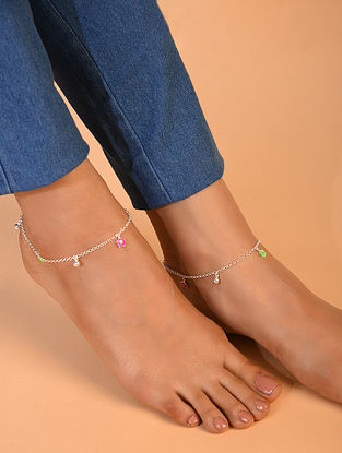 Pink Green Tribal Silver Anklet (Pair Of Two)