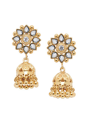 Gold Tone Sterling Silver Jhumki Earrings