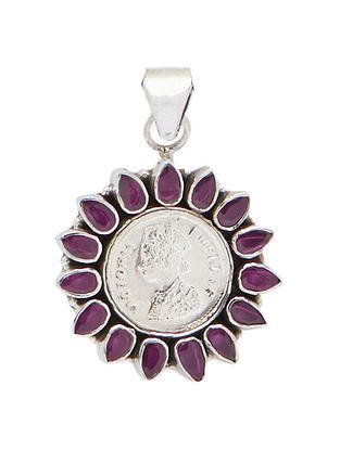 Maroon Sterling Silver Pendant
