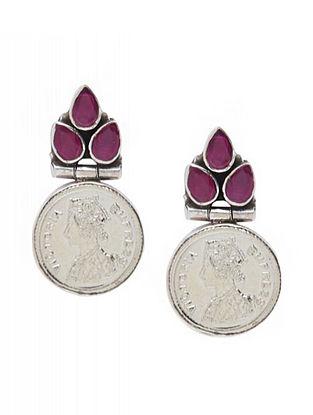 Maroon Sterling Silver Earrings