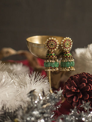 Kempstone Encrusted Gold Plated Silver Jhumki Earrings with Pearls