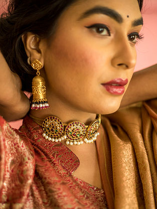 Red Green Gold Plated Silver Jhumki Earrings With Pearls