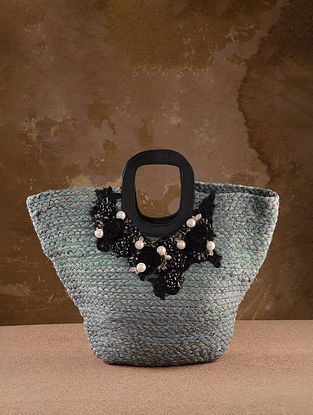 Grey Handcrafted Jute Tote Bag