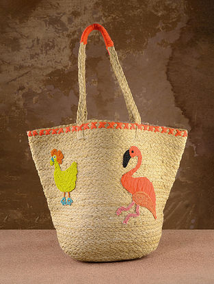 Multicolored Handcrafted Jute Tote Bag