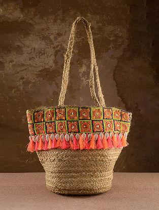 Beige Orange Handcrafted Jute Tote Bag