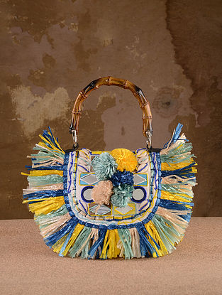 Multicolored Handcrafted Straw Tote Bag