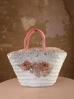 White Handcrafted Sequined Straw Tote Bag