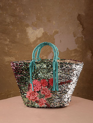 Blue Handcrafted Sequined Straw Tote Bag