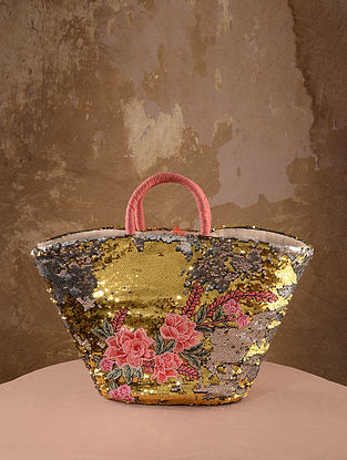 Yellow Handcrafted Sequined Straw Tote Bag