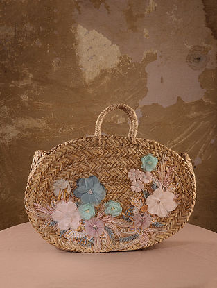 Beige Handcrafted Straw Tote Bag