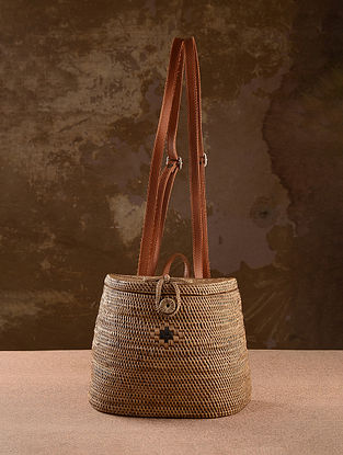 Beige Handcrafted Rattan Backpack