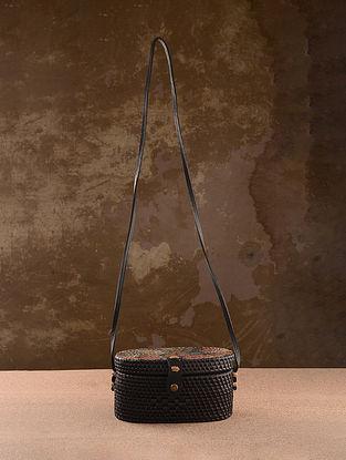 Black Handpainted Rattan Sling Bag