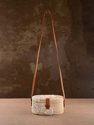 White Handcrafted Rattan Sling Bag