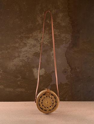 Beige Handcrafted Rattan Sling Bag