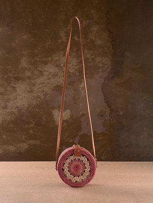 Pink Handcrafted Rattan Sling Bag