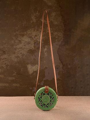 Green Handcrafted Rattan Sling Bag