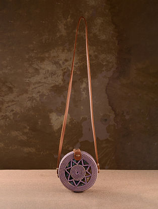 Purple Handcrafted Rattan Sling Bag