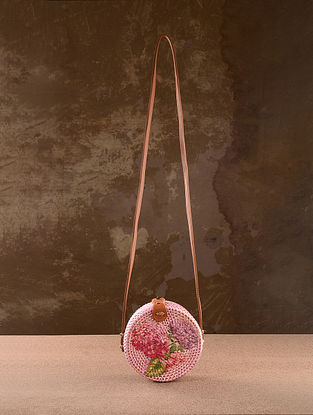 Pink Handpainted Rattan Sling Bag