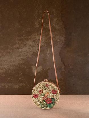 White Handpainted Rattan Sling Bag