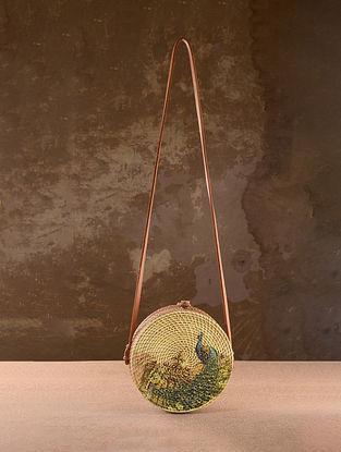 Beige Handpainted Rattan Sling Bag