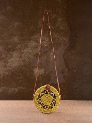 Yellow Handcrafted Rattan Sling Bag
