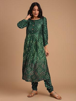 Sea Green Cotton Silk Kurta with Churidar