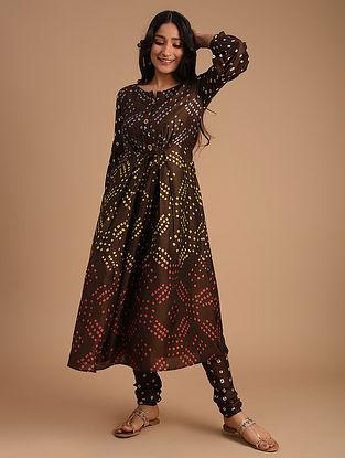 Brown Cotton Silk Kurta with Churidar