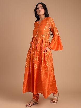 Orange Cotton Silk Kurta with Churidar