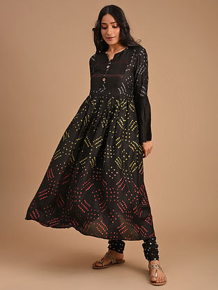 Black Cotton Silk Kurta with Churidar