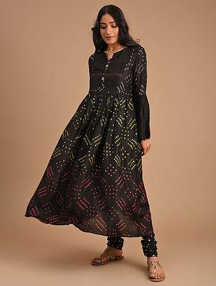 Black Cotton Silk Kurta