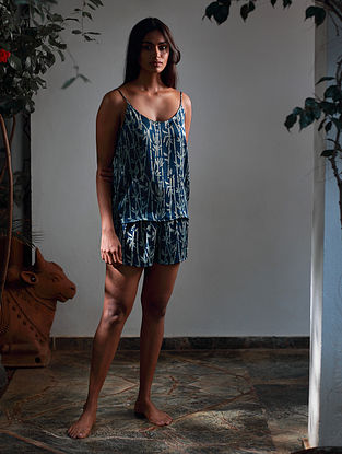 Blue Ajrakh Modal Shorts