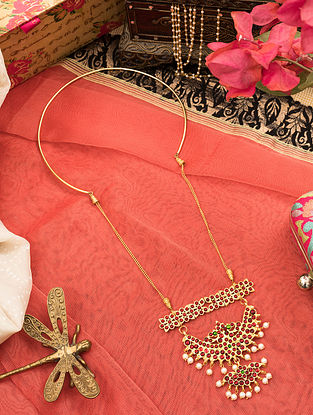 Red Gold Tone Temple Necklace With Pearls