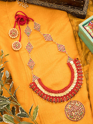 Red Green Gold Tone Temple Necklace