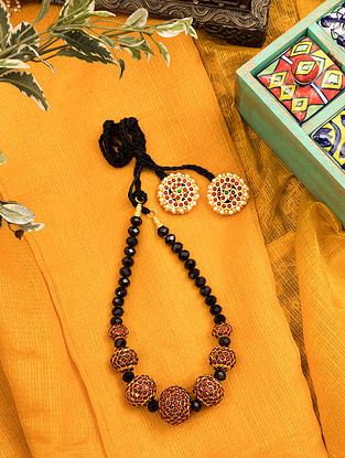 Black Red Gold Tone Temple Necklace With Pearls