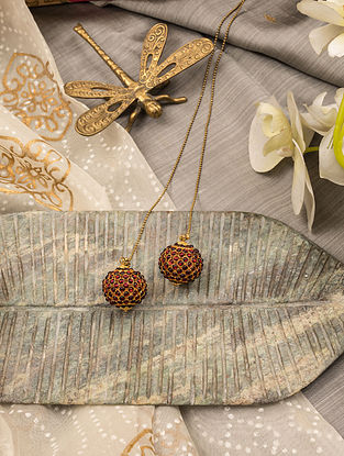 Red Gold Tone Temple Necklace