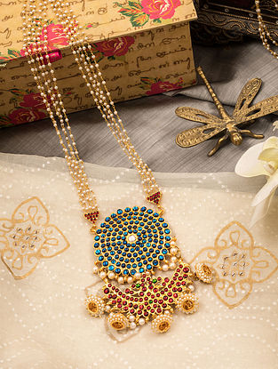 Multicolored Gold Tone Temple Necklace with pearls