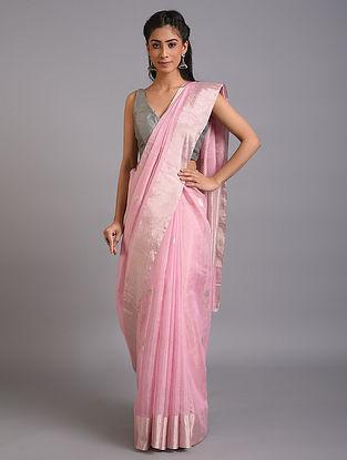 Pink Handwoven  Tissue Chanderi Saree