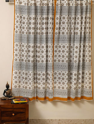 Block Printed Voile Cotton Mustard Curtain(L - 60in ,W - 35in)