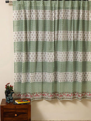Block Printed Voile Cotton Green Curtain(L - 60in ,W - 35in)