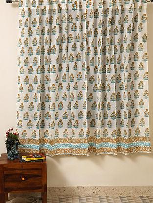 Block Printed Voile Cotton Multicolour Curtain(L - 60in ,W - 35in)