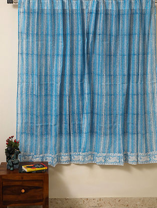 Block Printed Voile Cotton Sky Blue Curtain(L - 60in ,W - 35in)