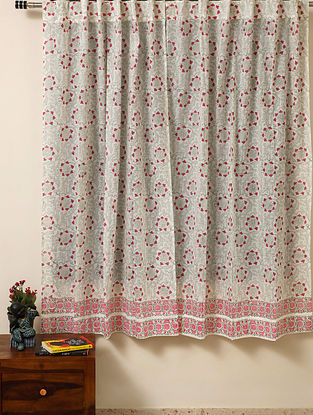 Block Printed Voile Cotton Pink Curtain(L - 60in ,W - 35in)