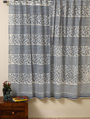 Block Printed Voile Cotton Blue Curtain(L - 60in ,W - 35in)