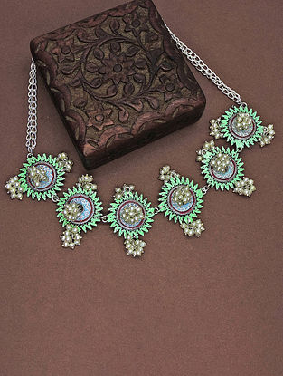 Green Enameled Choker Necklace With Pearls