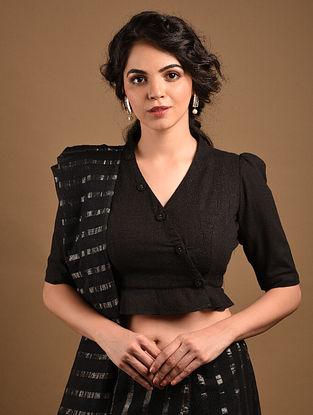 Black Handcrafted Cotton Slub  Blouse