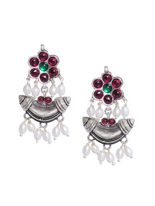 Maroon Sterling Silver Earrings with Pearls